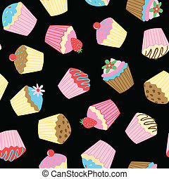 Cup cakes. - Cup cakes seamless pattern on a black...