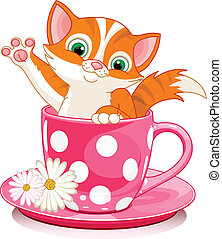 Domestic ginger kitten sits in tea cup.