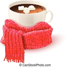 Cup Chocolate With Knitted Scarf Print