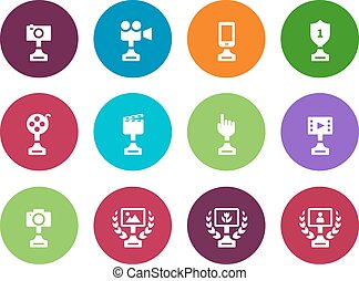 Cup circle icons on white background.