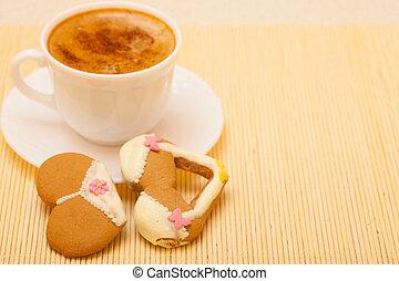 Cup coffee bikini underwear gingerbread cake cookie on...