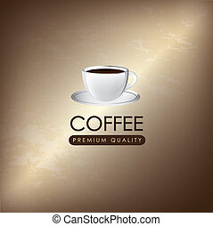cup coffee over vintage background vector illustration