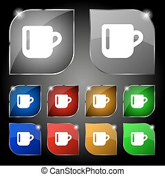 cup coffee or tea icon sign. Set of ten colorful buttons with glare. Vector