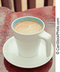 cup coffee - white cup coffee on table background