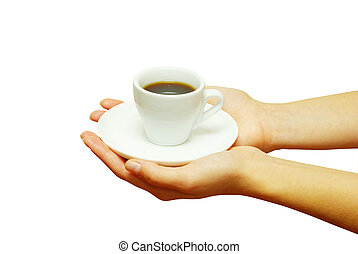 cup coffee - Two hands holding a cup of fresh coffee.