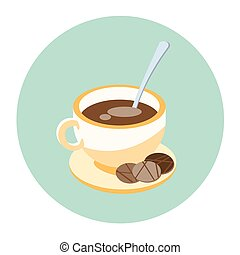 Cup Coffee Tea With Cookies On Plate Beverage Morning Drink Icon