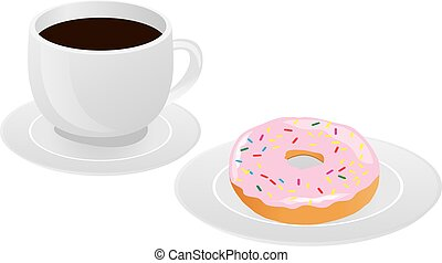 cup coffee - vector coffee and donut