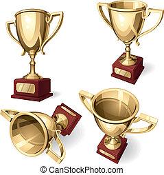 cup., deporte, vistas, conjunto, cuatro