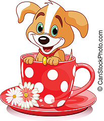 Cup dog - Domestic doggy sits in tea cup.