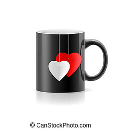 Cup - Black cup with teabag  stay on white background