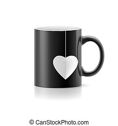 Cup - Black cup with teabag in the form of heart