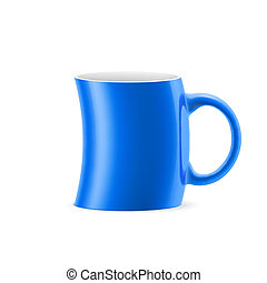 Cup - Blue curve cup of something is on white background