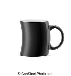 Cup - Black curve cup of something stay on white background