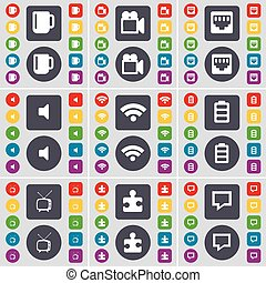Cup, Film camera, LAN socket, Sound, Wi-Fi, Battery, Retro TV, Puzzle part, Chat bubble icon symbol. A large set of flat, colored buttons for your design. Vector