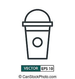 Cup flat icon vector. Line style. Isolated on white. Vector Illustration EPS 10