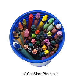 cup full of colorful crayons
