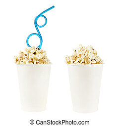 Cup full of popcorn isolated