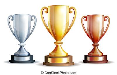 cup., ganadores, oro, vector, plata, bronce