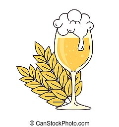 cup glass of beer with froth, and spikes on white background