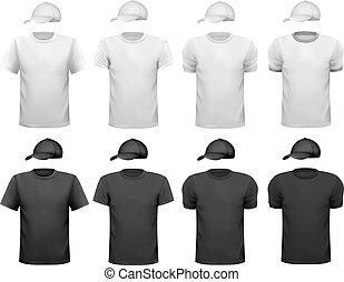 cup., homens, ilustração, t-shirt, vetorial, pretas, desenho, branca, template.