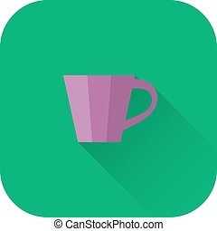 Cup icon. Vector. Flat design with long shadow.