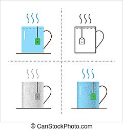 Cup icons with tea bag