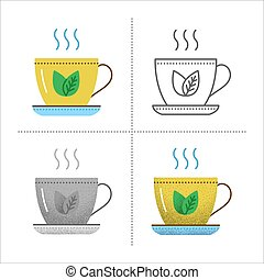 Cup icons with tea leaves