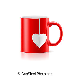 Cup - Red cup with teabag in the form of heart