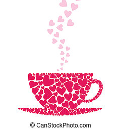 Cup love - Cup from pink hearts. A vector illustration
