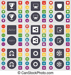 Cup, Monitor, Badge, Note, Share, Survey, Avatar, Snowflake icon symbol. A large set of flat, colored buttons for your design. Vector