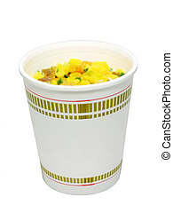 Cup noodle, isolated in white