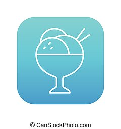 Cup of an ice cream line icon.