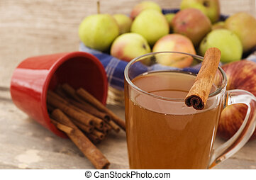 cup of apple cider with cinnamon