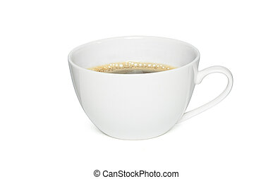 cup of black coffee isolated on white background, Side view