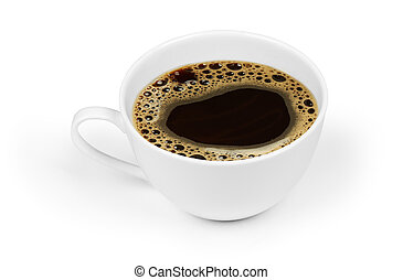 cup of black coffee isolated on white background