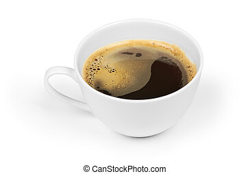 cup of black coffee isolated on white with clipping path