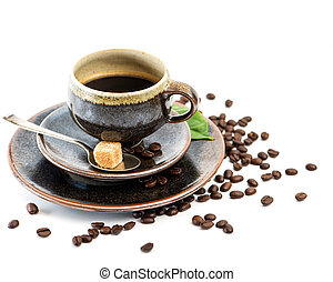 Cup of black coffee with beans on white background