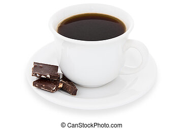 Cup of black coffee with chocolate