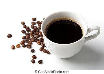 cup of black coffee with roasted coffe beans 2