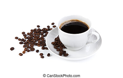 cup of black coffee with roasted coffe beans 2 - cup of ...