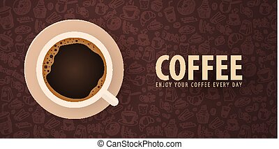 Cup of Black coffee with the hand-draw doodle elements on...