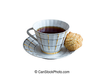 cup of black tea and crunchy cookie isolated on white background