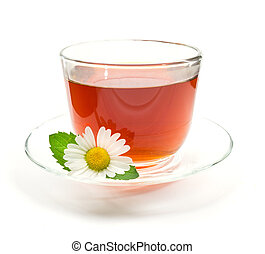 Cup of black tea with chamomile flower