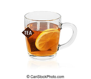 Cup of black tea with lemon isolated on white