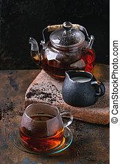 Cup of black tea with milk