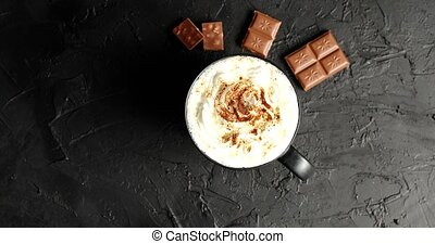 Cup of cacao with whipped cream - Top view of mug with cacao...