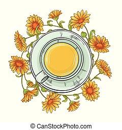 cup of calendula tea illustration on white background