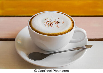 Cup of Cappuccino coffee.