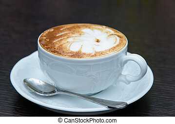 cappuccino with cinnamon - cup of cappuccino with cinnamon...