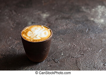 Cup of cappuccino with latte art